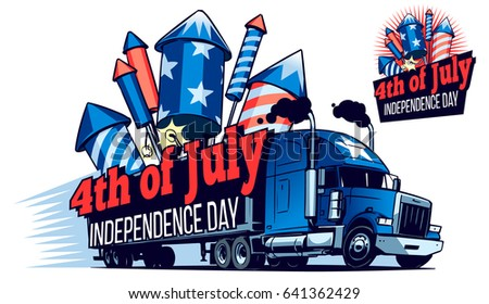 Fast Moving American Truck With a Big Heap of Firework Rockets in its Trailer. Cartoon illustration