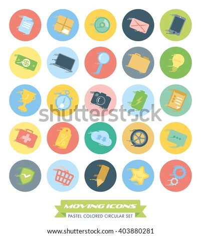 Fast Moving Icons Collection. Set of pastel colored web and business icons with speed streaks in circles