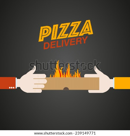 Fast pizza delivery - stock vector