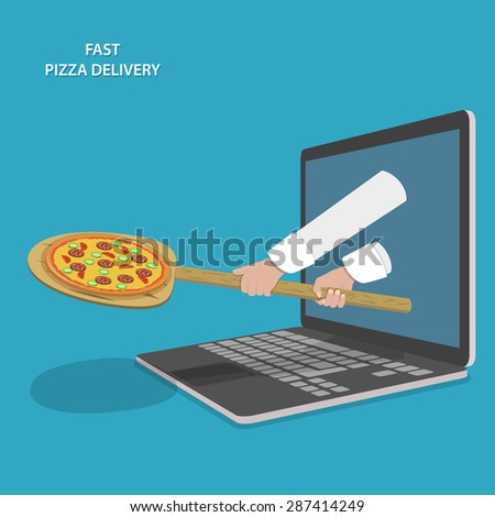 Fast Pizza Delivery Vector Illustration. Hands Of Chef With Peel And Pizza Appeared From Laptop. - stock vector