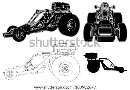 Fast Race Land Car 14 - stock vector