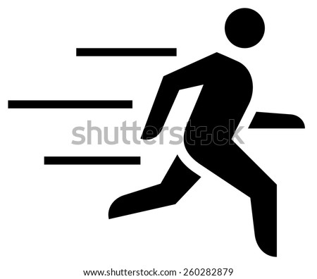 Fast running man icon - stock vector