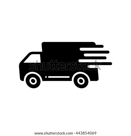Fast shipping delivery truck flat icon - stock vector