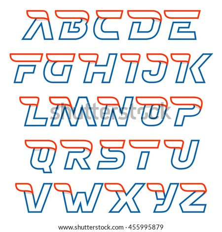 Fast speed line letters alphabet. Sport elements for sportswear, t-shirt, banner, card, labels or posters. - stock vector