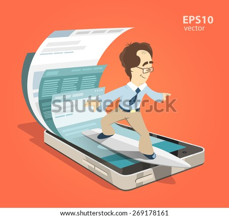 Fast speed mobile internet surfing. Man businessman on surfboard. Search information using smartphone. Color vector illustration creative concept. - stock vector