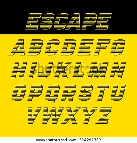 Fast Speed Style Alphabet Vector Illustration
