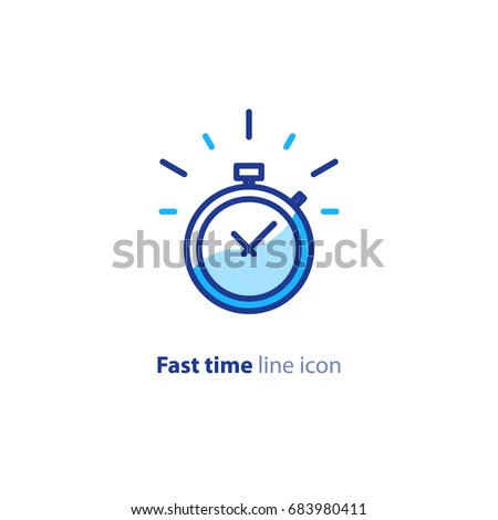 Fast time logo, stop watch speed concept, quick delivery, express and urgent services, deadline and delay, vector line icon