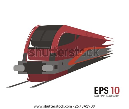 fast train illustration - stock vector