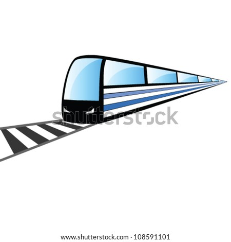 fast train on the rails vector illustration - stock vector