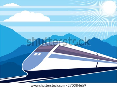 Fast Train vector - stock vector