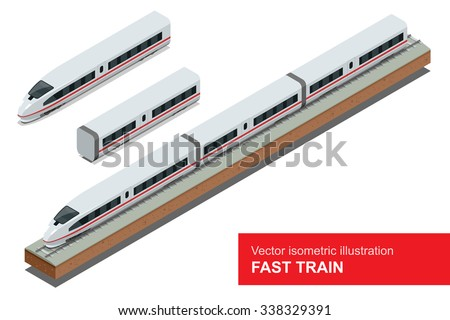 Fast Train. Vector isometric illustration of a Fast Train.  Vehicles designed to carry large numbers of passengers. Isolated vector of modern high speed train. - stock vector