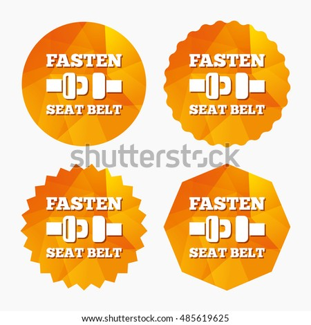 Fasten seat belt sign icon. Safety accident. Triangular low poly buttons with flat icon. Vector