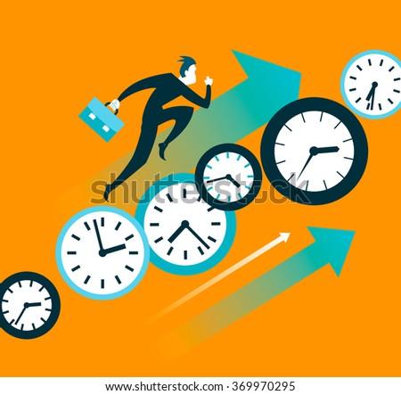 Faster than time. Push forward. Vector illustration - stock vector