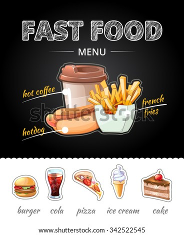 Fastfood advertising on chalkboard. Lunch cola and french fries, pizza and cup coffee, ice cream and cake. Vector illustration - stock vector