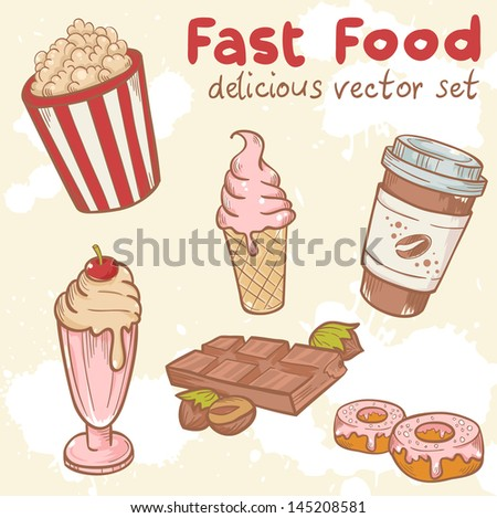 Fastfood delicious hand drawn vector set with tasty sweets, ice cream, Popcorn and chocolate - stock vector