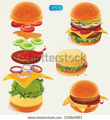 Fastfood. Hamburger ingredients. Vector illustration - stock vector