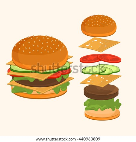 Fastfood. Hamburger ingredients vector illustration. Flying ingredients of hamburger ingredients. Fast food hamburger ingredients unhealthy, cheddar american fast food lunch.