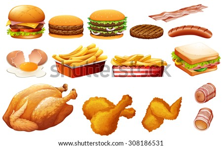 Fastfood in various types illustration - stock vector