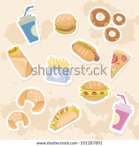 Fastfood stickers set with delicious dish on grungy background - stock vector