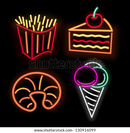 Fastfood symbols in neon isolated on black - stock vector