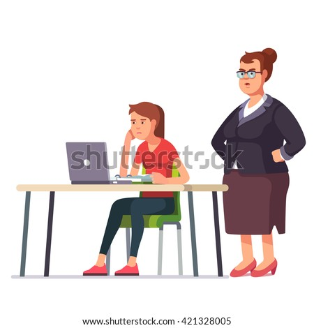 Fat boss woman looking over a shoulder on a weary, sleepy and exhausted employee working on a laptop computer sitting at office desk. Flat style color modern vector illustration. - stock vector