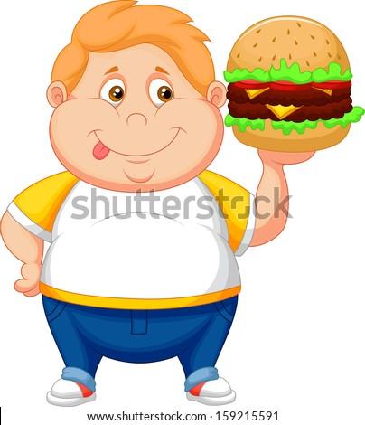 Fat boy smiling and ready to eat a big hamburger - stock vector