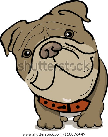 fat brown dog that is visible from close range on a white background - stock vector