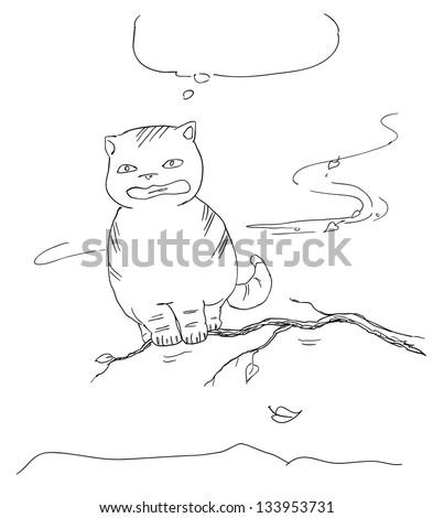 fat cat afraid of falling, sketch - stock vector