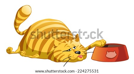 Fat cat lying on the floor gorged  reaches for the bowl