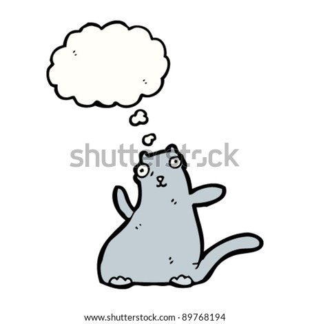 fat cat with thought bubble cartoon