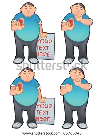 Fat character with various gestures - stock vector