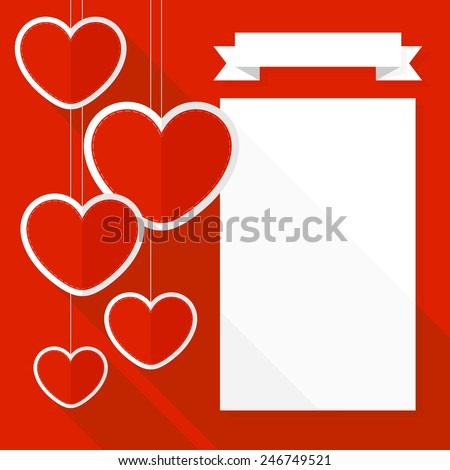 fat design of valentines day card background with hanging hearts - stock vector