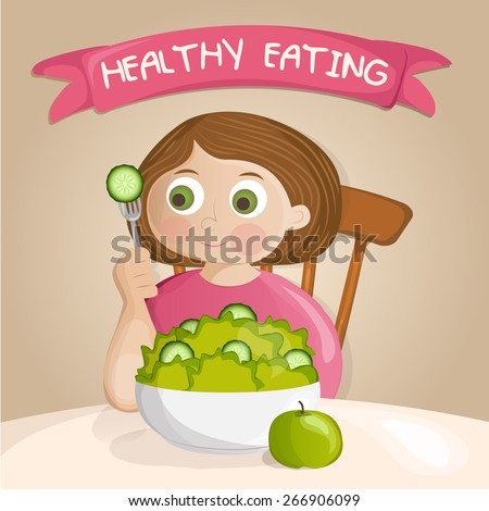 Fat girl on a diet eating salad - stock vector