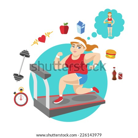 Fat girl. Vector sport flat illustration - stock vector