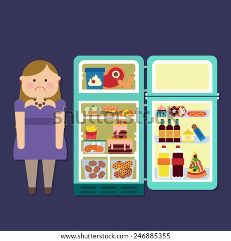 fat girl with refrigerator full of junk food - stock vector