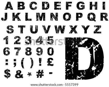 Fat Grunge Alphabet - Letters were created on a Wacom Tablet, and are individually grouped for ease of use. - stock vector