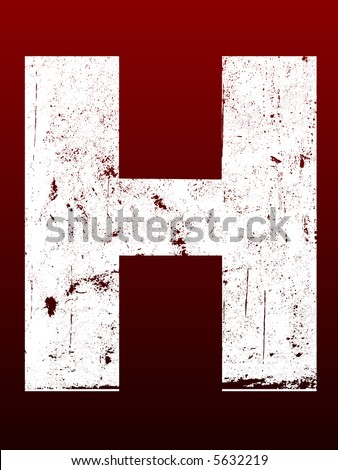 Fat Grunged Letters - H (Highly detailed grunge letter) - stock vector