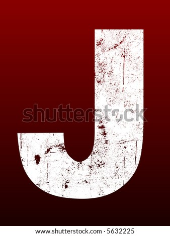 Fat Grunged Letters - J (Highly detailed grunge letter) - stock vector
