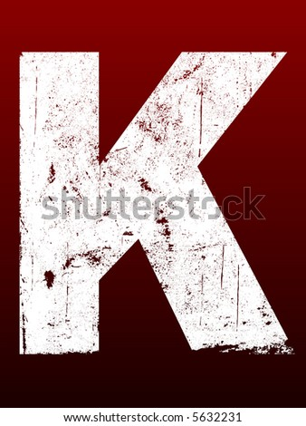 Fat Grunged Letters - K (Highly detailed grunge letter) - stock vector
