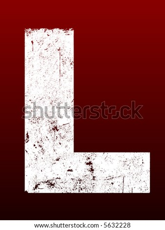 Fat Grunged Letters - L (Highly detailed grunge letter) - stock vector