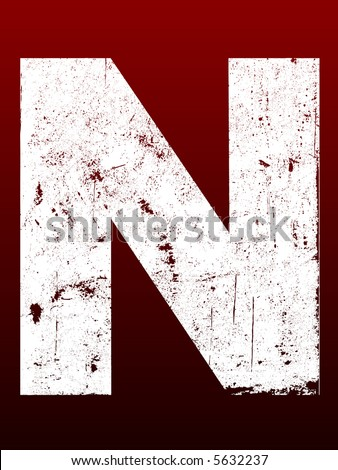 Fat Grunged Letters - N (Highly detailed grunge letter) - stock vector