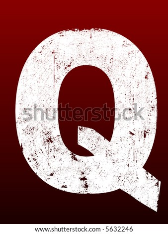 Fat Grunged Letters - Q (Highly detailed grunge letter) - stock vector