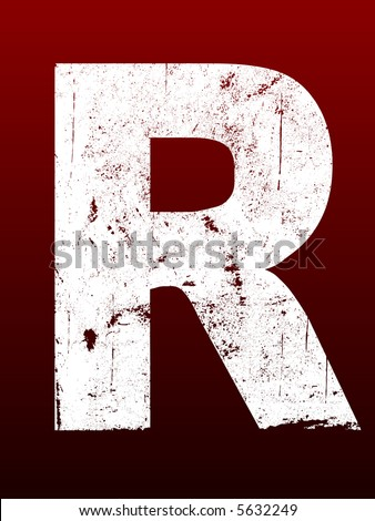 Fat Grunged Letters - R (Highly detailed grunge letter) - stock vector