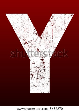 Fat Grunged Letters - Y (Highly detailed grunge letter) - stock vector