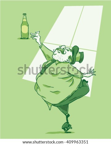 Fat guy trying to grab a beer standing on a bench - style vector illustration isolated on green background - Sign  - stock vector