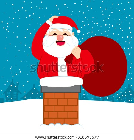 Fat happy Santa Claus trying to enter into house through chimney on Christmas eve - stock vector