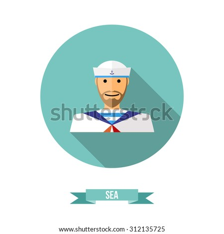Fat icon with a shadow, sailor with a beard in striped frock. Vector flat sailor icon.  Sailor in naval uniform on round shape background with long shadow.  Vector illustration - stock vector