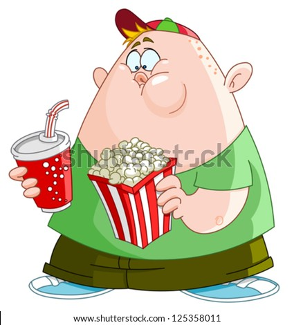Fat kid with popcorn and soda - stock vector
