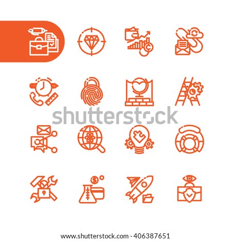 Fat Line Business icon set for web and mobile. Modern minimalistic flat design elements of business management, strategy, career progress and finance process. - stock vector