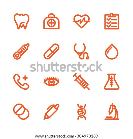 Fat Line Icon set for web and mobile. Modern minimalistic flat design elements of Healthcare and medical equipment - stock vector
